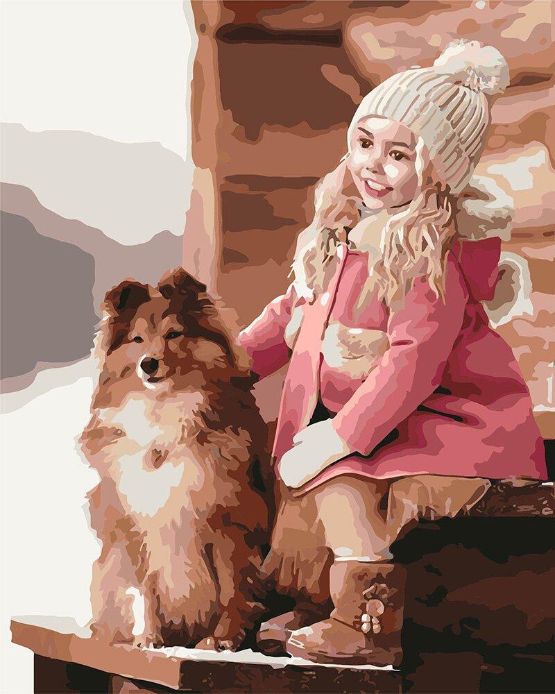 Раскраска по номерам Прогулка с собачкой (KH2342) Идейка ...
