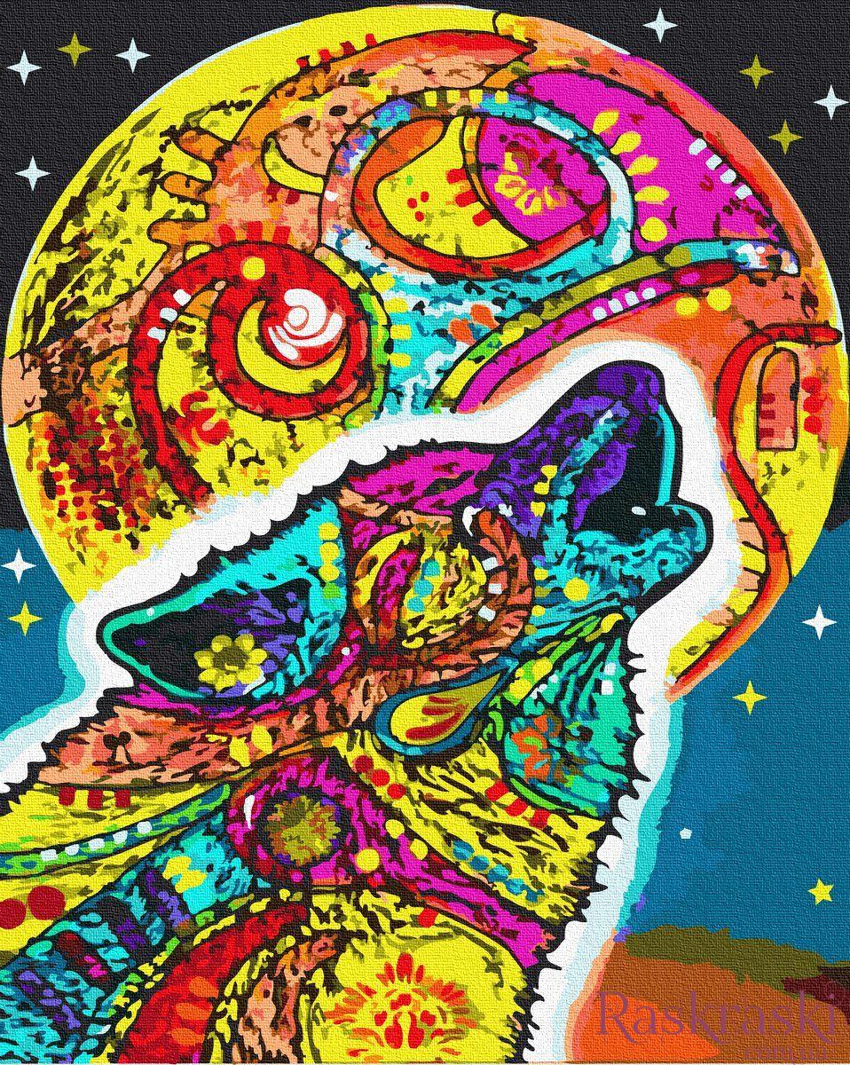 Картина раскраска Разноцветная луна (BRM34717) НикиТошка ...